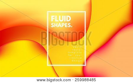Abstract Background With Liquid Shapes. Trendy Gradients In Yellow Colors. 3d Abstract Flow Poster.