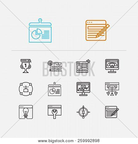 Seo Icons Set. Social Network And Seo Icons With Sitemap, Strategy And Website Optimization. Set Of