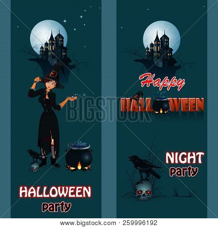 Halloween Party Poster With Sexual Witch. Vector Illustration.