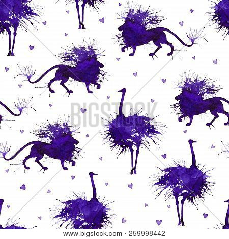 Wild African Animals. The Ostrich And The Lion On The Background With Hearts. Natural Cliparts.