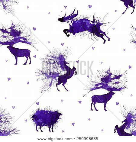 Hoofed Animals. Deer, Wild Bull, Sheep And Horse On The Background With Hearts. Second Version. Natu