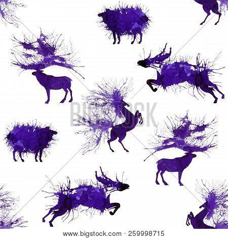 Hoofed Animals. Deer, Wild Bull, Sheep And Horse. Thirdversion. Natural Cliparts.