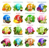 Vitamins and minerals in healthy food of salad vegetables, fruits, nuts, cereals and berries. Vector multivitamins of ascorbic acid, cholecalciferol or riboflavin and tocopherols or cyanocobalamin poster
