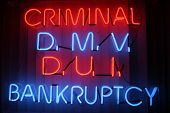 """neon sign series"" ""criminal, dmv, dui,bankruptcy"" poster"