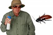 "a man in a pith helmet sprays Bug Spray towards a giant cockroach with ""dont bug me"" text isolated on white with room for your text or images (text can easily be removed and replaced by your own) poster"