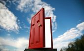 a magic red door  leading to the outside world or perhaps a portal to the 5th dimention poster