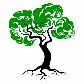 Tree of life. Green tree silhouette with roots. Tree icon vector illustration. poster