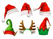 Christmas holiday hat. Funny 3d elf, snow reindeer and Santa Claus hats for noel. Elves clothes isolated vector set poster