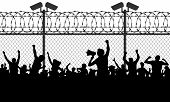Crowd of people behind bars demanding to open the border. Migrants and refugees are standing behind closed and shut barrier, fence made of barbed wire. Vector illustration silhouette poster