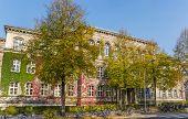School building of the Max Planck Gymnasium in Gottingen, Germany poster