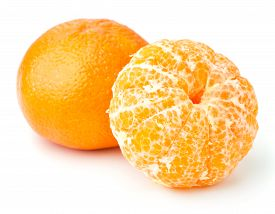 Two Ripe Tangerines Isolated On White Background