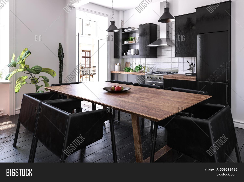 Modern Black Kitchen Image Photo Free Trial Bigstock