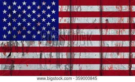 The Contours Of The American Flag On A Cracked Old Wooden Wall