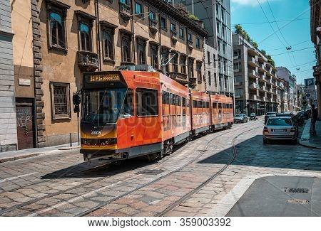 Milan, Italy- 06.07.2019: Milan Street Panorama Modern Tram Tram. European Public Transport.