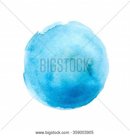 Watercolor Blue Round Abstract Background Isolated On White. Copy Space. Place For Text.
