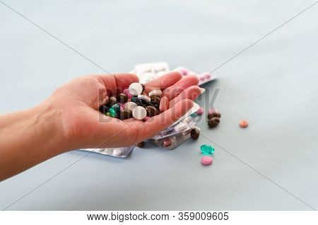 Medicines And Pills.  Medicine And Healthcare Concept. Multicolored Medicines On A White Background