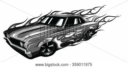 Monochromatic Vintage Car, Hot Rod Garage, Hotrods Car, Old School Car,