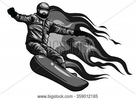 Winter Sport, Snowboarding - Vector Illustration Of A Young Boy Snowboarder Doing A Jump On A Snowbo