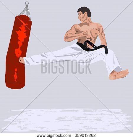 Karate - A Man Fulfills A Kick On An Inflatable Bag - Characteristic, Emotional - Vector. Martial Ar