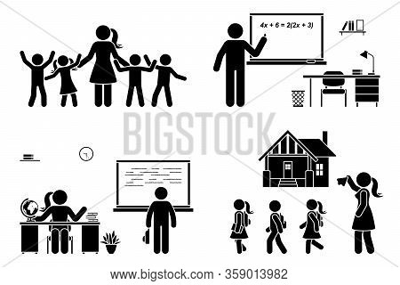 Stick Figure Teacher With Kids, Writing On Chalkboard, Teaching Student, Sitting At Desk Vector Icon