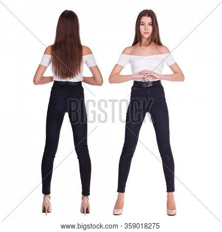 Collage fashion models. Full body portrait of a young beautiful brunette girls in black jeans, isolated on white background