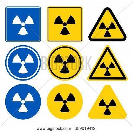 Radiation Icon,radiation Symbol,white Icon On Blue Background,vector Illustration