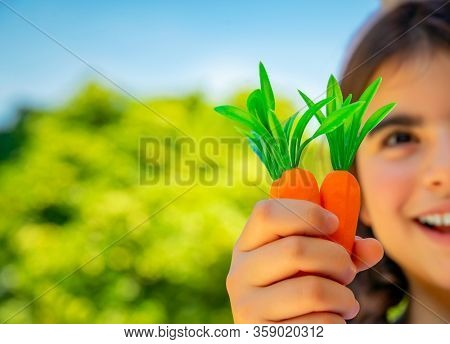 Little girl with carrots, kids on a healthy vegetarian diet, selective focus portrait of a cheerful pre-teen enjoying gardening on a sunny spring day, organic food, vegan lifestyle concept