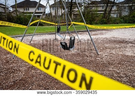 Surrey, Canada - Mar 29, 2020: Playground Closed Due To Coronavirus Pandemic