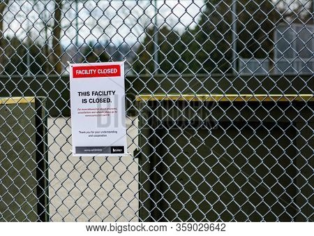 Surrey, Canada - Mar 29, 2020: Sports Area Closed Notice During Covid19 Pandemic