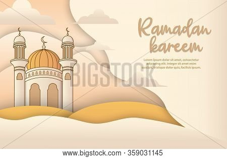 Ramadan Greeting Card With Modern Brush Calligraphy Ramadan Kareem In Arabic. Islamic Background, Ra