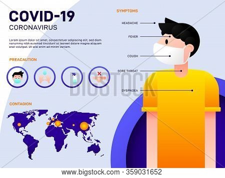 Covid-19 Coronavirus Outbreak Infographic Template Design, The Information Consist Of Symptom, Preca