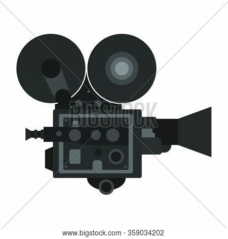 Old Vintage Camcorder. Filming A Movie On Retro Instrument. Film Recording Of A Movie. Isolated Vect