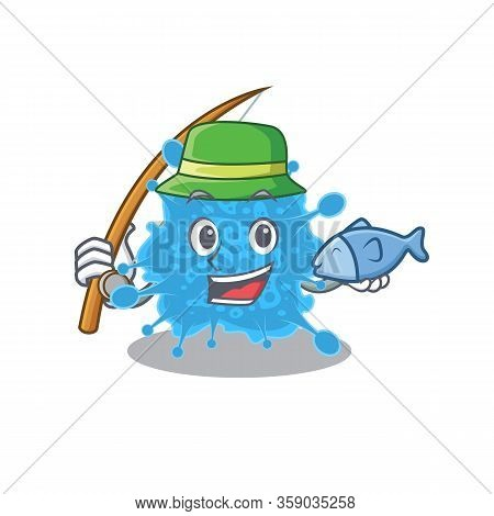 Cartoon Design Concept Of Andecovirus While Fishing