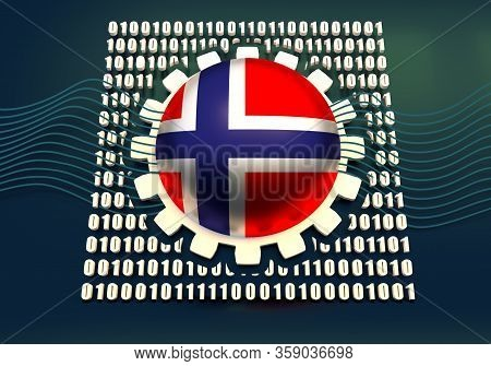 Binary Code Background With Gear And Flag Of The Norway. Algorithm Binary, Data Code, Decryption And