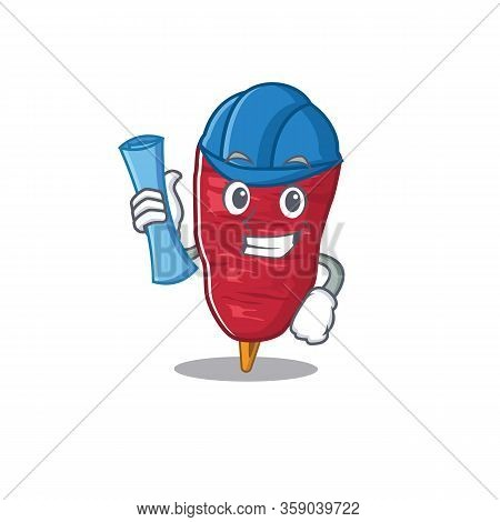 Cartoon Character Of Doner Kebab Brainy Architect With Blue Prints And Blue Helmet