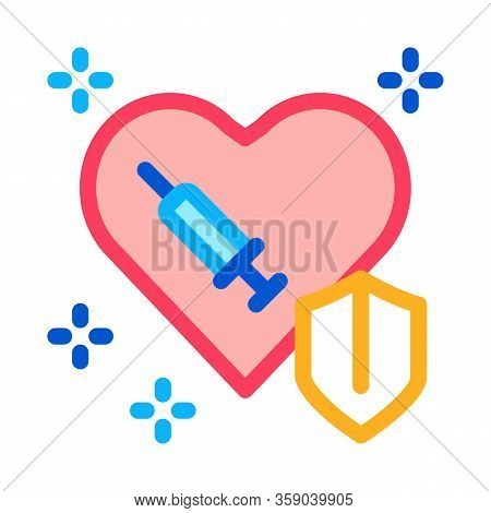 Cardiac Repair Injection Icon Vector. Cardiac Repair Injection Sign. Color Contour Symbol Illustrati