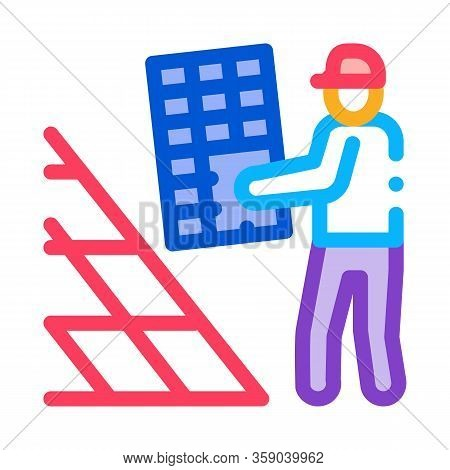Installer Working Solar Battery Icon Vector. Installer Working Solar Battery Sign. Color Contour Sym