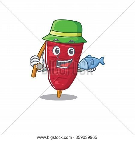 Cartoon Design Concept Of Doner Kebab While Fishing