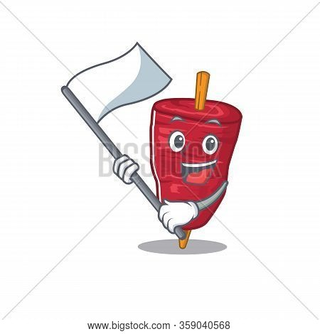 A Nationalistic Doner Kebab Mascot Character Design With Flag