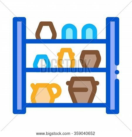 Cupboard With Clay Products Icon Vector. Cupboard With Clay Products Sign. Color Contour Symbol Illu
