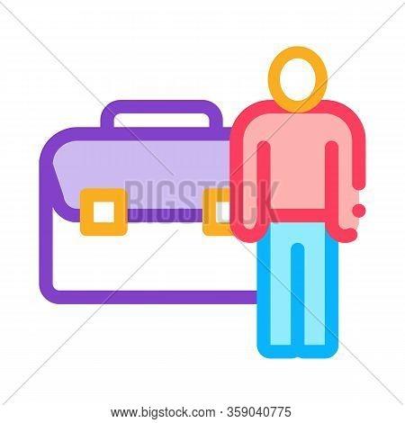 Busy Man Icon Vector. Busy Man Sign. Color Contour Symbol Illustration