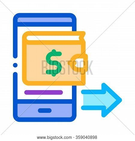 Card Payment Via Smartphone Icon Vector. Card Payment Via Smartphone Sign. Color Contour Symbol Illu