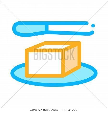 Whole Piece Of Butter And Knife Icon Vector. Whole Piece Of Butter And Knife Sign. Color Contour Sym