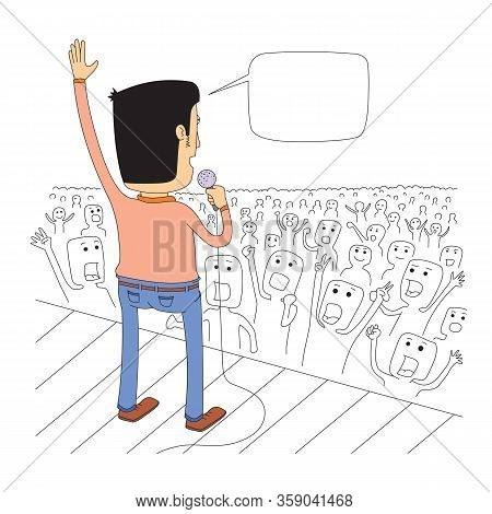 A Singer On Stage Greets His Audience