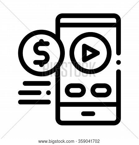 Selling Phone Player Icon Vector. Selling Phone Player Sign. Isolated Contour Symbol Illustration