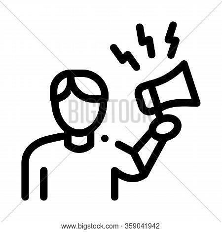 Loudspeaker Man Icon Vector. Loudspeaker Man Sign. Isolated Contour Symbol Illustration