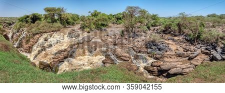 Wide Panorama Of Beautiful Waterfall In Awash National Park. Waterfalls In Awash Wildlife Reserve In