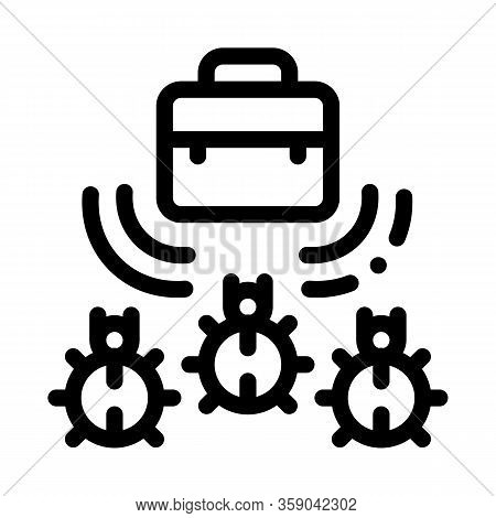 Bugs For Listening In Briefcase Icon Vector. Bugs For Listening In Briefcase Sign. Isolated Contour