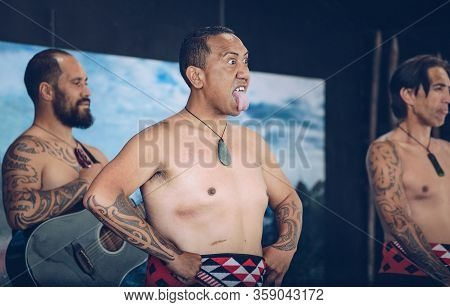 Rotorua, New Zealand -december-11-2017 : Maori Tribes Traditional Greeting. The Maori Are The Indige