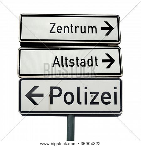 German traffic signs isolated over white background poster